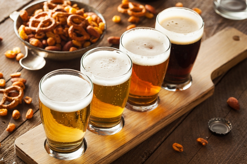 A flight of four craft beers
