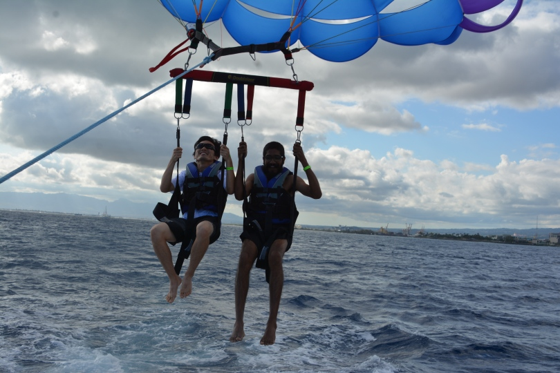 Tomo and I begin our parasail flight