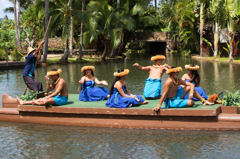 Hawaii's canoe awaits their turn in the pageant