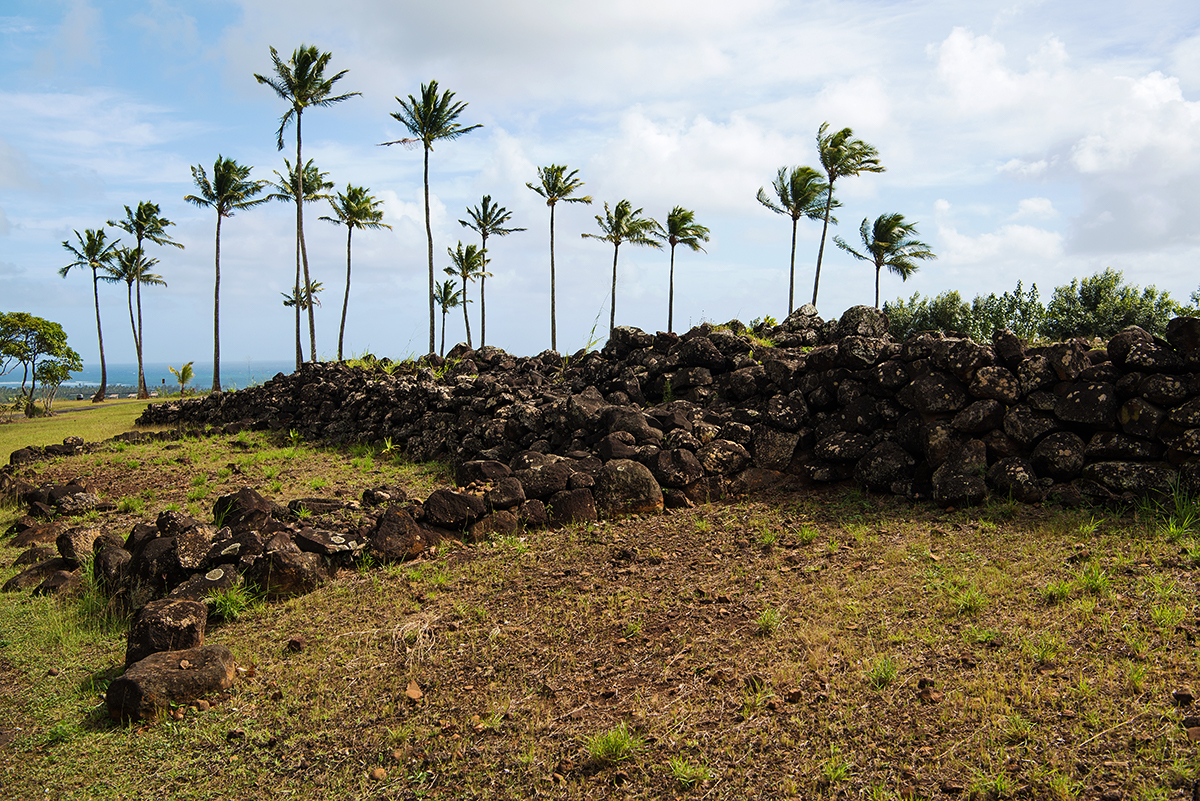 Poliahu Heiau on Kauai. A Hawaiian temple, the rocks arranged here are sacred and must not be moved.