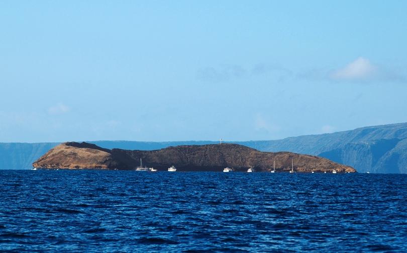 Boats moored at Molokini Crater