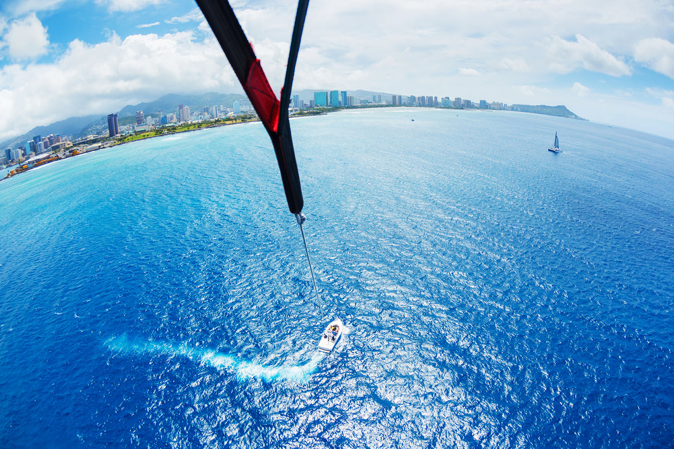 A wide-angle shot taken from a parasail